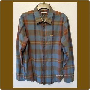 RVCA Hot Shaka Laka Blue LS Plaid Button Up Shirt